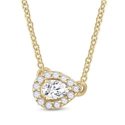 14kt Yellow Gold Womens Pear Diamond Solitaire Necklace 1/6 Cttw