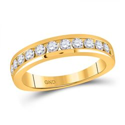 14kt Yellow Gold Womens Round Diamond Wedding Single Row Band 3/4 Cttw