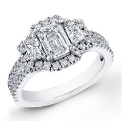 Natural 4.02 CTW Halo Emerald Cut & Trapezoids Diamond Engagement Ring 18KT White Gold