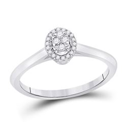 14kt White Gold Womens Round Diamond Oval Fashion Ring 1/10 Cttw