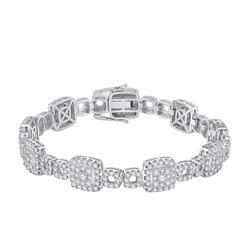 14kt White Gold Womens Round Diamond Square Link Bracelet 5-3/4 Cttw
