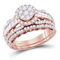 14kt Rose Gold Round Diamond Cluster Bridal Wedding Ring Band Set 1-1/2 Cttw