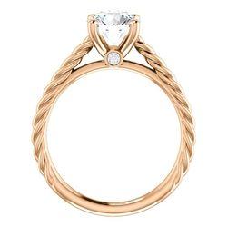 Natural 2.12 CTW Round Cut Rope Design Diamond Engagement Set 14KT Rose Gold
