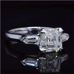 Natural 2.82 CTW 3-Stone Asscher Cut Diamond Ring 14KT White Gold