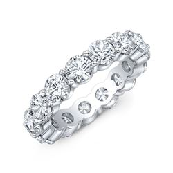 Natural 6.02 CTW Round Cut Diamond Eternity Ring 18KT White Gold