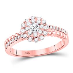14kt Rose Gold Round Diamond Solitaire Beaded ridal Wedding Engagement Ring 1/2 Cttw
