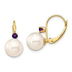 14k Yellow Au White Pearl Amethyst Leverback Earrings - 8-8.5 mm
