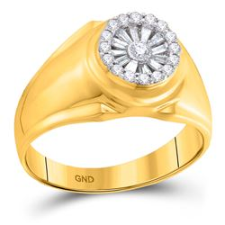 14kt Yellow Gold Mens Baguette Diamond Circle Solitaire Ring 1/2 Cttw