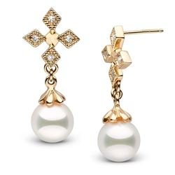 White Akoya Pearl and Diamond Cross Earrings