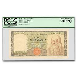1972-74 Italy 50,000 Lire Leonardo da Vinci AU-58 PPQ PCGS