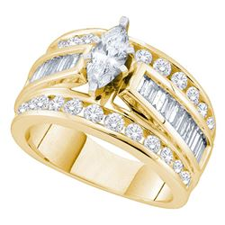 14kt Yellow Gold Marquise Diamond Solitaire Bridal Wedding Engagement Ring 2 Cttw