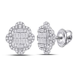 14kt White Gold Womens Baguette Diamond Quatrefoil Cluster Earrings 1 Cttw