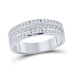 14kt White Gold Mens Round Diamond Wedding Braided Band Ring 1/2 Cttw