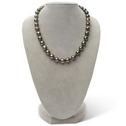 "Dark Peacock and Cherry Drop-Shaped Baroque Tahitian Pearl Necklace, 18"", 9.1-11.0mm, AA+/AAA Qualit"