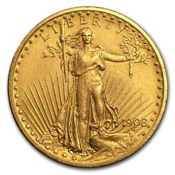 1908 $20 Saint-Gaudens Gold Double Eagle No Motto (Cleaned)