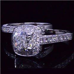 Natural 3.92 CTW Halo Cushion Cut Diamond Engagement Ring 18KT White Gold