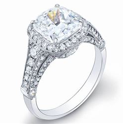 Natural 6.32 CTW Pave Halo Cushion Cut Diamond Engagement Ring 14KT White Gold