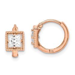 14k Rose Gold Square Cubic Zirconia Hoop Earrings