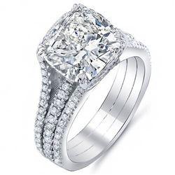 Natural 4.12 CTW Riviera Cushion Cut Diamond Engagement Ring 18KT White Gold