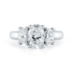 Natural 2.62 CTW 3-Stone Oval Cut Diamond Engagement Ring 18KT Yellow Gold