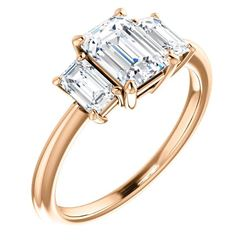 Natural 3.02 CTW 3-Stone Emerald Cut Diamond Engagement Ring 18KT Rose Gold