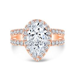 Natural 3.92 CTW Pear Cut Split Shank Diamond Engagement Ring 14KT Rose Gold