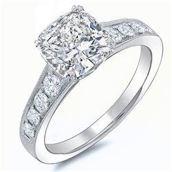 Natural 1.43 CTW Cushion Cut w/ Milgrain Detail Diamond Engagement Ring 18KT White Gold