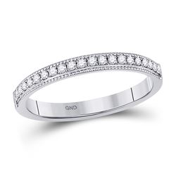 14kt White Gold Womens Round Diamond Wedding Single Row Band 1/6 Cttw