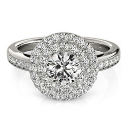 Natural 0.85 ctw Diamond Halo Ring 14k White Gold