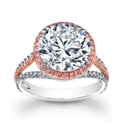 Natural 3.92 CTW Halo Round Brilliant Cut Pave Diamond Engagement Ring 18KT Two- tone