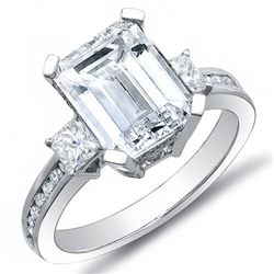 Natural 3.92 CTW Emerald Cut Diamond Engagement Ring 18KT White Gold