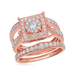 14kt Rose Gold Round Diamond Bridal Wedding Ring Band Set 1-1/2 Cttw
