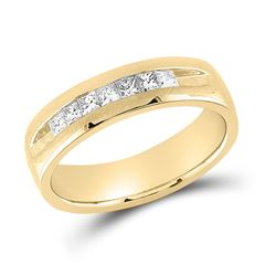 14kt Yellow Gold Mens Princess Diamond Wedding Single Row Band Ring 1/2 Cttw