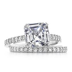 Natural 3.97 CTW Asscher Cut Diamond Engagement Bridal Set 14KT White Gold