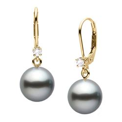 Black Tahitian Pearl and Diamond Leverback Dangle Earrings