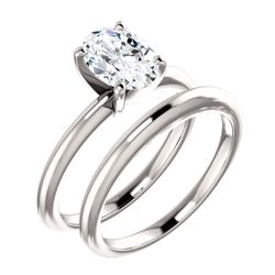 Natural 0.77 CTW Oval Cut Diamond Solitaire Engagement Ring 18KT White Gold
