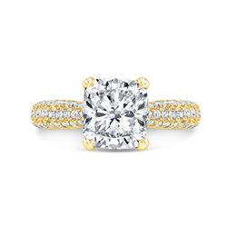Natural 3.32 CTW Cushion Cut Micro Pave Diamond Engagement Ring 18KT Yellow Gold