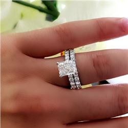 Natural 2.72 CTW Radiant Cut Diamond Engagement Ring 18KT White Gold