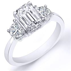 Natural 2.42 CTW 3-Stone Emerald Cut & Half Moons Diamond Ring 18KT White Gold