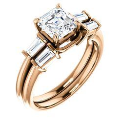 Natural 1.42 CTW Asscher Cut & Baguette Diamond Bridal Set 18KT Rose Gold