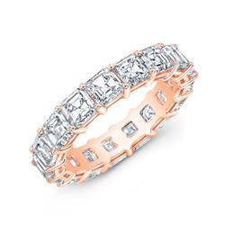 Natural 3.02 CTW Asscher Cut Diamond Eternity Ring 14KT Rose Gold