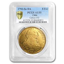 1793-SO DA Chile Gold 8 Escudos Charles IV AU-55 PCGS