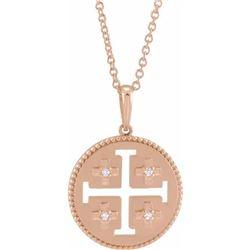 Natural 0.27 CTW Jerusalem Cross Necklace 14KT Rose Gold