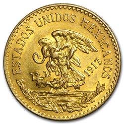 1917 Mexico Gold 20 Pesos AU