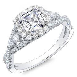 Natural 1.62 CTW Asscher Cut Cross Over Diamond Engagement Ring 18KT White Gold