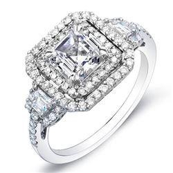 Natural 2.02 CTW Double Halo Asscher Cut Diamond Engagement Ring 14KT White Gold