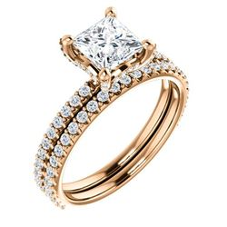 Natural 2.22 CTW Under-Halo Princess Cut Diamond Ring 18KT Rose Gold