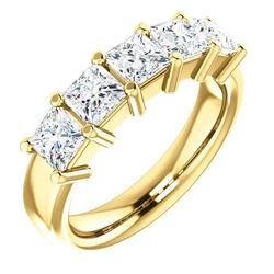 Natural 1.52 CTW Princess Cut 5-Stone Diamond Ring 18KT Yellow Gold