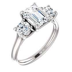 Natural 2.12 CTW 3-Stone Emerald Cut & Rounds Diamond Ring 18KT White Gold