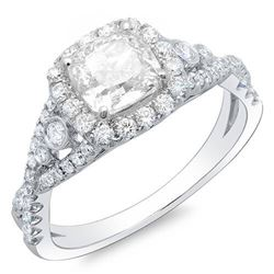 Natural 2.32 CTW Halo Cushion Cut Cross Over Shank Diamond Engagement Ring 18KT White Gold